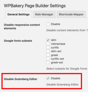 Disable Gutenberg editor in WPBakery Page Builder settings
